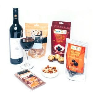 Chocolate hampers packed with red wine and treats