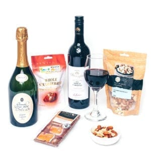 Chocolate hampers packed with champagne & red wine duo