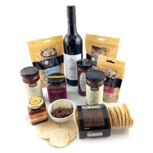 A food hamper full of platinum gourmet locals & red wine
