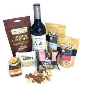 A food hamper packed with red wine sampler