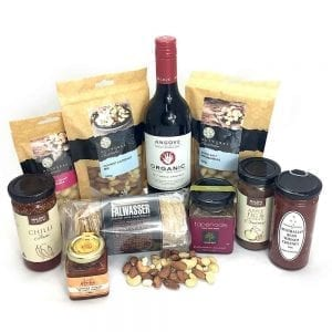 A food hamper full of organic gourmet locals & red wine