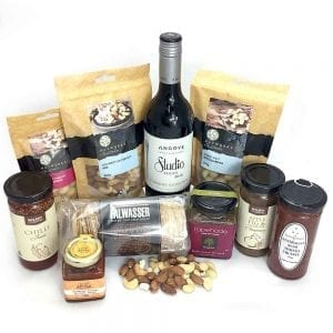 A food hamper full of gourmet locals & red wine