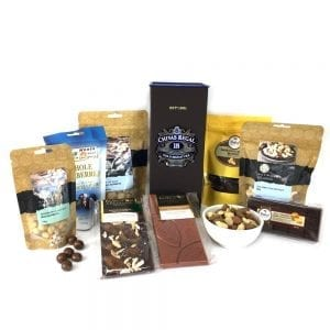 Gourmet food hamper packed with Chivas Deluxe