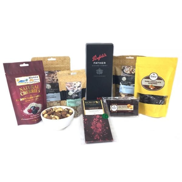 Food hamper full of Penfolds Father & gourmet locals