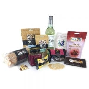 Gift hamper with white wine & gourmet locals