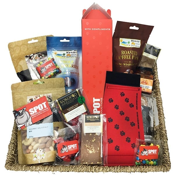 Gift hamper with branded socks and food items
