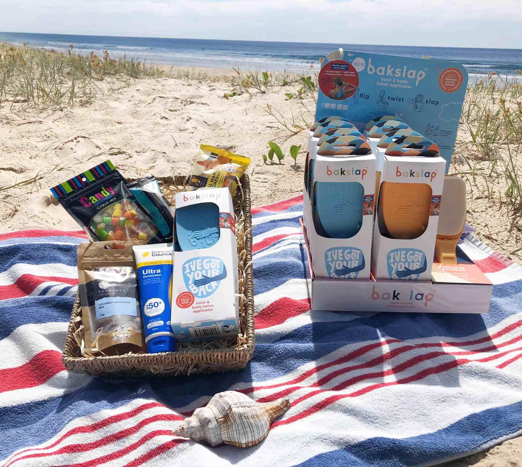 bakslap product hamper on beach