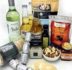 Gourmet local hamper with beer, white wine , nibblesand xmas bon bons